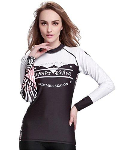 Fortuning's JDS erupción guardia de las mujeres de playa deportes acuáticos manera de la manga larga de la camisa del traje de baño blanco