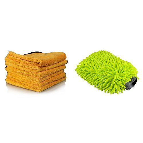 Chemical Guys MIC_507_06 Professional Grade Premium Microfiber Towel, Gold (16 in. x 24 in.) (Pack of 6) and Chemical Guys  MIC_493 Chenille Microfiber Premium Scratch-Free Wash Mitt Bundle