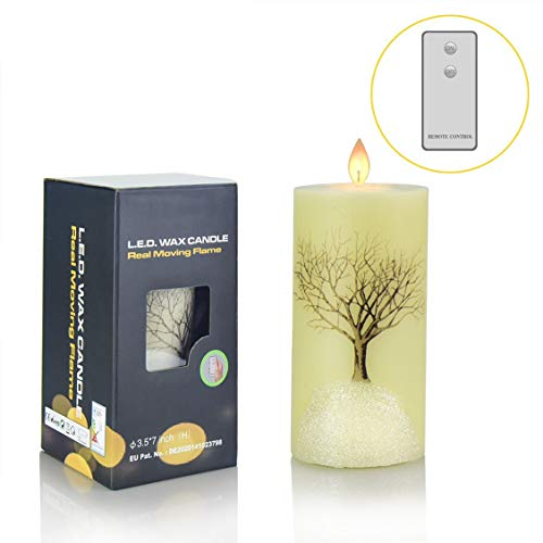 Flameless Led Flickering Candles, Y YUEGANG Realistic Snowflake Tree Moving Flame Battery Operated Candle with Timer Remote Gift Set