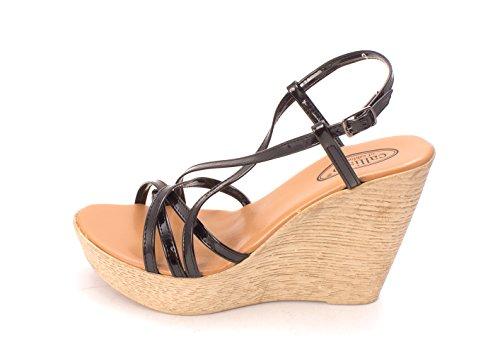Sandals Plate-forme Décontractée Callisto Femmes Sambaa À Bout Ouvert, Noir, Taille 9.0