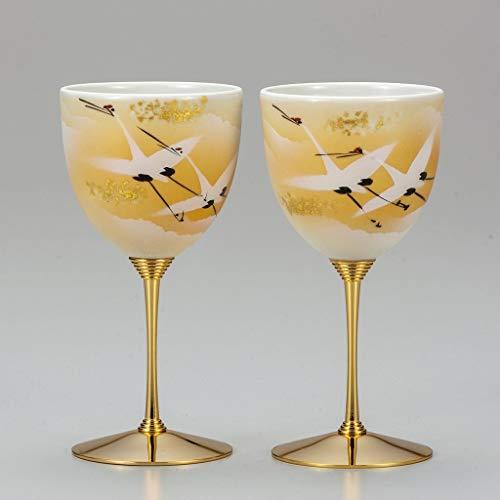 Set of 2 wine cups. Gold leaves cranes.Japanese porcelain Kutani ware. Tableware. - Leaf Gold Cranes
