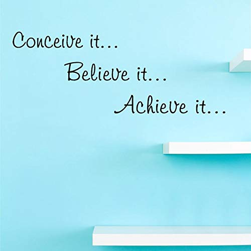CECILIAPATER Conceive it Believe it Achieve it. Motivational Inspirational Vinyl Wall Decal Quote -Inspirational Wall Decal - Vinyl Wall Decal (Best Dates To Conceive A Baby Boy)