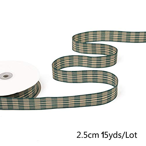 MONICO : 15yards/lot 2.5cm Multiple Options Scottish Plaid Grid Printed Ribbon for DIY Home Decoration Gift Wrapping Christmas Ribbons
