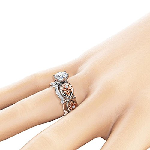 (Bookear Women Silver & Rose Gold Filed White Wedding Engagement Floral Ring Set)