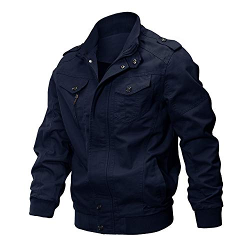 CRYSULLY Men Multi Pocket Stand Collar Outdoor Coat Lightweight Military Pilot Jackets Navy/US XL/Tag 4XL ()