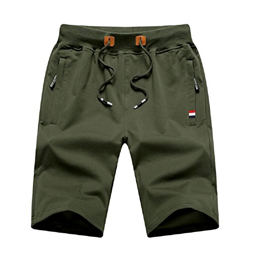 MO GOOD Mens Casual Shorts Workout Fashion Comfy Shorts Summer Breathable Loose Shorts (Army, US - Us Army Shorts Running