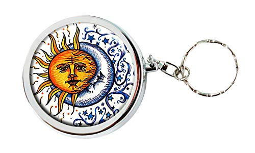 Pamee Chaman Cute Portable Box Stainless Steel Circular Keychain Decor Tray with Holder Case (Moon and Sun)
