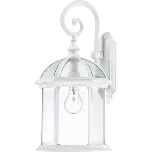Nuvo Lighting 60/4964 Boxwood One Light Mid-Size Wall Lantern/Arm Down 100 Watt A19 Max. Clear Beveled Glass White Outdoor Fixture