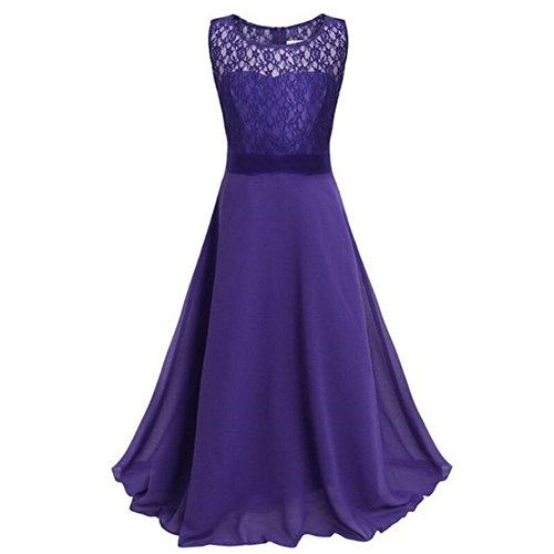 Weixinbuy Big Girl's Flower Chiffon Lace Dresses Ball Pageant Long Maxi Gown Dark Purple 170 14-15Y