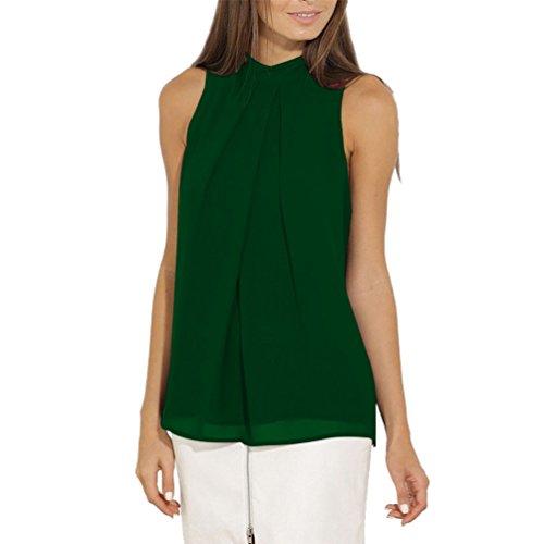 Blusas Camisetas sin Manga Mujer Camisas Blusa Gasa Camiseta sin Mangas Camisetas de Tirantes Largas Dama Top Verano Blusones Chalecos Señora Bluson Chicas Blusas Bonitas de Fiesta Casual Verde Oscuro