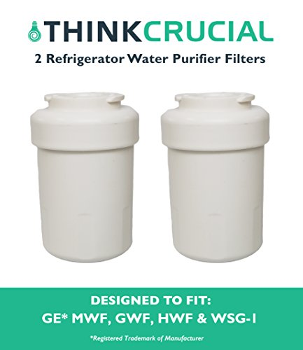 2 Water Purifier Filters Fit GE Smart Water Refrigerator MWF, GWF, GWFA, GWF01, GWF06, MWFA HWF, 46-9991, WSG-1, WF287 & EFF-6013A, Designed & Engineered by Think Crucial