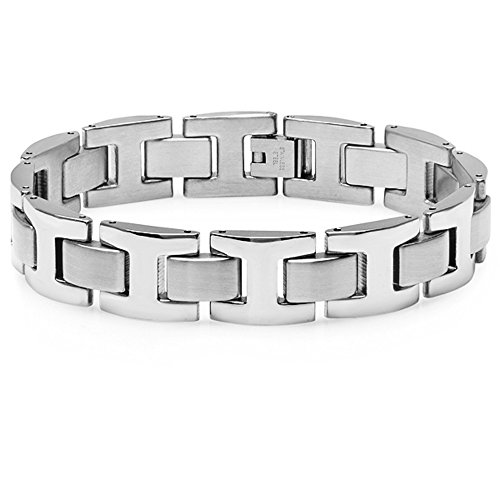 Oxford Ivy Men's Heavy Solid Stainless Steel Chain Link Bracelet 8 1/2 inches by Oxford Ivy