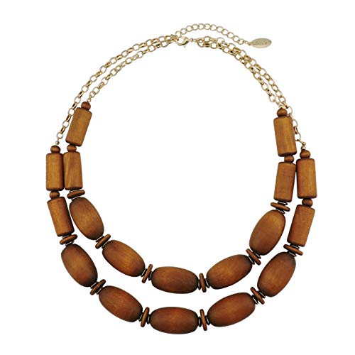 Bocar 2 Layer Statement Chunky Wood Beaded Fashion Collar Necklace for Women (NK-10574) (Light Brown)