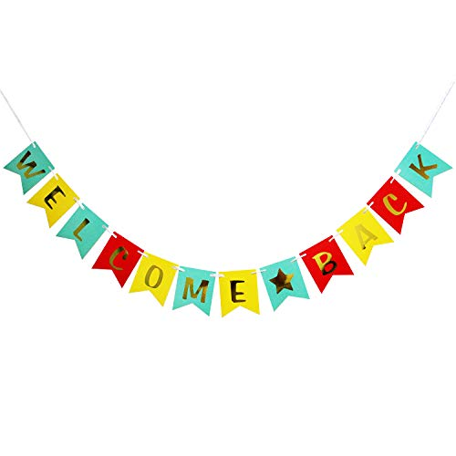 Hatcher lee Welcome Back Banner - Hanging Pennant Party Banner Decorations Blue Yellow Red (Welcome Back Home Baby) -