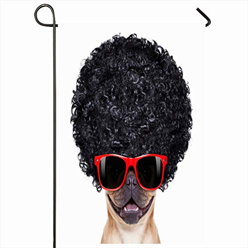 Ahawoso Seasonal Garden Flag 12x18 Inches Groovy Red Wig Cool French Bulldog Sunglasses Wearing Hair Black Afro Sports Recreation Dog Crazy Home Decorative Outdoor Double Sided House Yard Sign