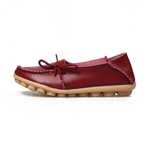 ALLY Boat Driving Casual Red FORCE Shoes on Slip Shoes Leather Soft Wine UNION MAKE Flat Women's Loafers OfpUOr7q