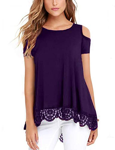 RAGEMALL Womens Cold Shoulder Tops Short Sleeve Lace Trim Tunic Blouse Top for Women Purple L