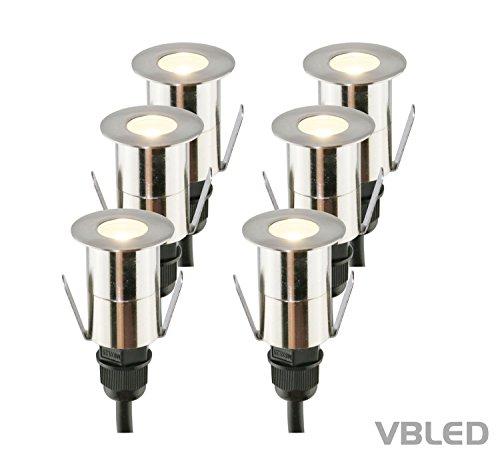 VBLED® Hochwertiges LED Boden-Einbauleuchten 6er-Set für Außen aus Edelstahl, warm-weiß, 14lumen, 25 mm, 6x Einbaustrahler inkl. Netzteil