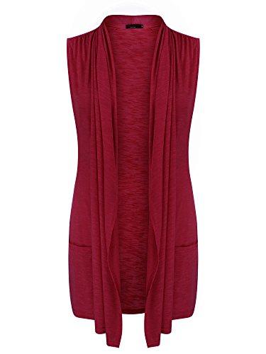 Vessos Women Vests Sleeveless Open Front Shawl Collar Shrug Jersey Vest Cardigan (Large, Wine Red)