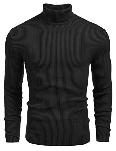 Coofandy Mens Ribbed Slim Fit Knitted Pullover Turtleneck Sweater,Black,Medium