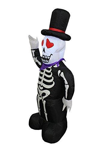 BZB Goods 4 Foot Halloween Inflable Esqueleto del cráneo iluminado con LED Luces LED Decoración al aire libre Interior Decoraciones navideñas, Inflar decoración de patio iluminado, Inflables de césped Casa Familiar Exterior