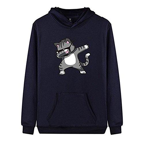 Amlaiworld Winter damen warm Katze drucken sweatshirt mode Camping Mäntel locker Freizeit Kapuzenpullover Freizeit outdoor pulli Dunkelblau