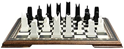 Art Deco Themed Chess Set - 3.5 Inches - In Presentation Box - Handmade in UK - Black and White