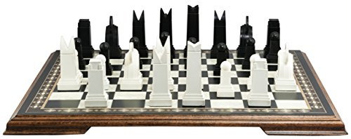 Art Deco Themed Chess Set - 3.5 Inches - In Presentation Box - Handmade in UK - Black and White (Anne Style Set)