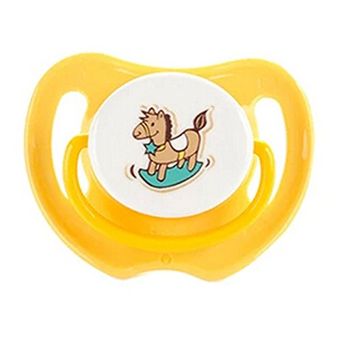 Lovely Cartoon Free Nighttime Infant Pacifier, Little Rocking Horse,Yellow
