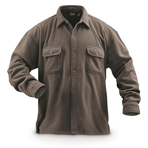 (Guide Gear Men's Fleece CPO Shirt, Taupe, M)