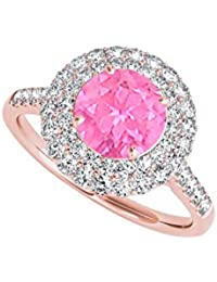 September Birthstone Created Pink Sapphire CZ Ring 2.00 CT TGW