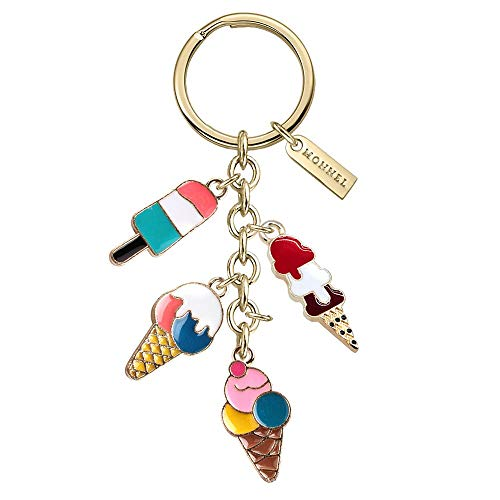 Monnel New Arrival Cute Assorted Ice-cream Charms Pendants Keychain with Velvet Bag Z565 (Ice Cream Keychain)