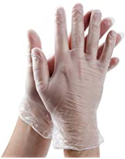 Vinyl Gloves 100 Pcs Disposable Gloves - Powder-Free Transparent Plastic Gloves - Protective Comfortable Rubber Latex Free Clear for Hospital, Food Handling