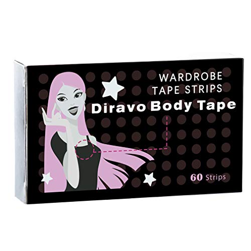 Double Sided Fashion Beauty Tape Adhesive Medical Quality Wardrobe Clothing Dress Tape for Body (60 strips)