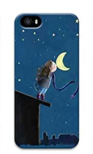 3D Hard Plastic Case for iPhone 5 5S 5G,Kiss the Moon Case Back Cover for iPhone 5 5S by runtopwell