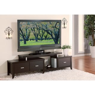 Cappuccino 60-inch Expandable Tv Media Entertainment Console Center - 3 Adjustable Drawers - Expandable Corner Tv Console