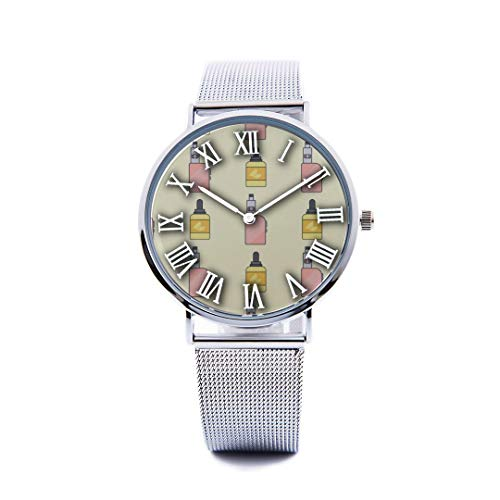- Unisex Fashion Watch Juice Box Drink Sour and Sweet Print Dial Quartz Stainless Steel Wrist Watch with Steel Strap Watchband for Men Women 40mm Casual Watch