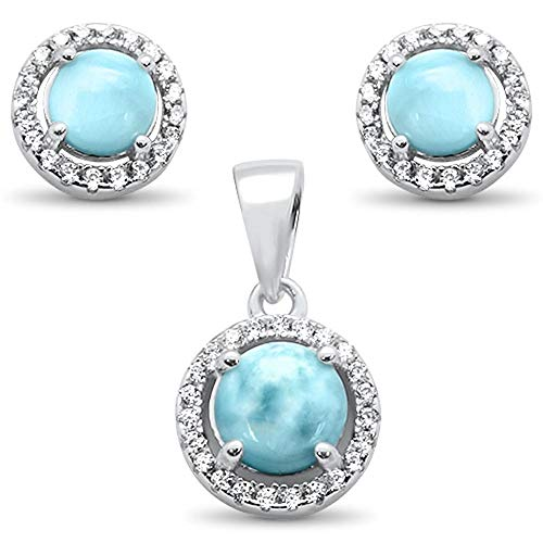 (Natural Larimar Clear Cubic Zirconia Round Earrings Pendant Set Sterling Silver)