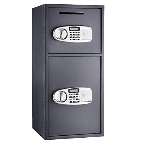 Mophorn Security Safe Box 4.6 Cubic Feet Double Door Safe Box Solid Steel Depository Safe with Electrical Digital Lock and Key Lock Safe Box for Money Gun Jewelry (Digital Double Door)