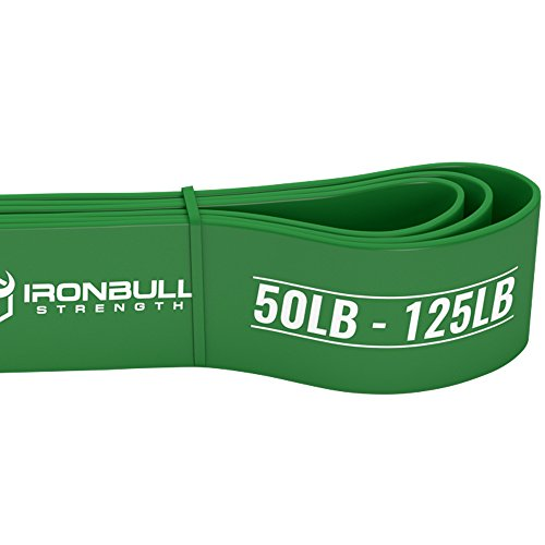 Pull Up Assist Band, Premium Stretch Resistance Bands - Mobility Bands - Powerlifting Bands - Extra Durable and Heavy Duty Pull-Up Bands - Works with Any Pullup Station (#4 Green - 50 to 125 lb) by Iron Bull Strength (Image #1)