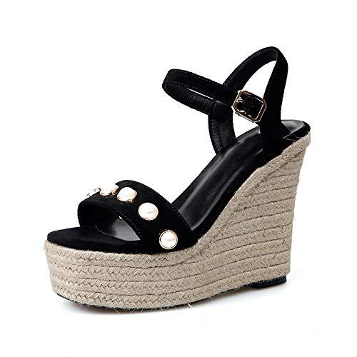 Mode Black Chaussures Hoesczs Talons Perles Femmes Daim Marque Femme 13KJulTFc