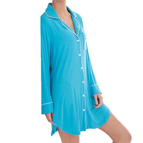modali vestitino Blu Yying da donna notte Camicie notte Camicie Cielo Camicie lunghe maniche casual a da da notte da qtnSUwtO