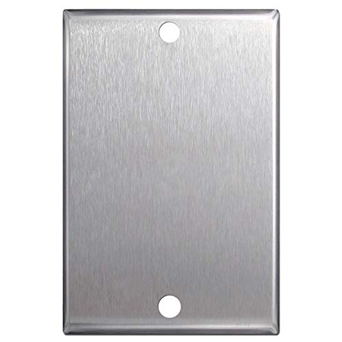 Steel Blank Wall Plate - Stainless Steel Single Gang Blank Wall Plates - 5 Pack