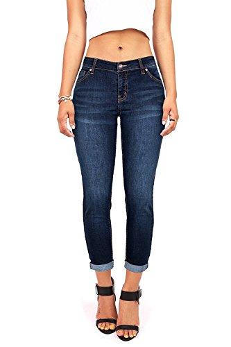Wax Women's Juniors Mid-Rise Capri Jeans w Stretch (5, Dark Denim)