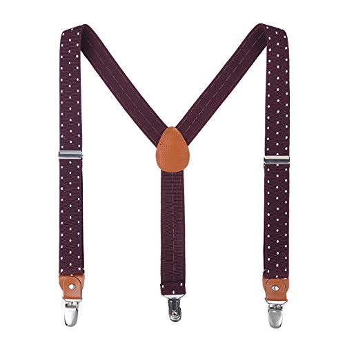 - Children Boys Kids Adults Suspenders - Sturdy Metal Clips Genuine Leather suspender (43 Inches, Wine Red Polka Dot)