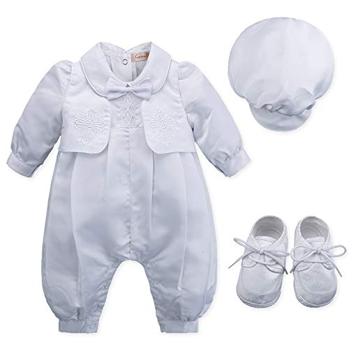 Infant Boys 1 Pc Outfit - Baby Boy's 5 Pcs Set White Christening Baptism Outfits Cross Applique Embroidery Vest Long Sleeves Suit
