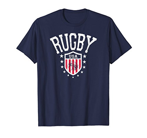 Usa Rugby Shirts - Mens Vintage Rugby USA Eagle T-shirt XL Navy