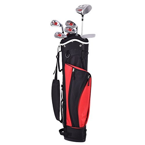 6 pcs Kids Wood Iron Putter Golf Club Set w/ Stand Bag - Red by Apontus