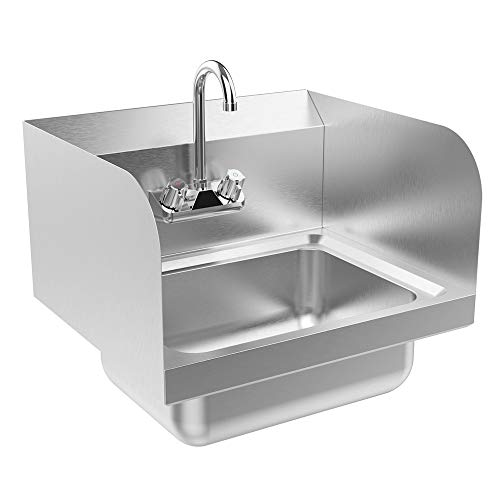 Bonnlo Commercial Stainless Steel Perp/Bar Sink Hand Wash Sink - Wall Mount Hand Washing Basin Commercial Kitchen Heavy Duty with Faucet 17