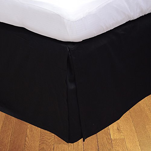 BudgetLinen (1 Box Pleated Bed skirt Only,Black , Full , Drop Length 24 inches) 100% Egyptian Cotton Luxurious 300 Thread Count - Custom Drop Pleated Bed Skirt